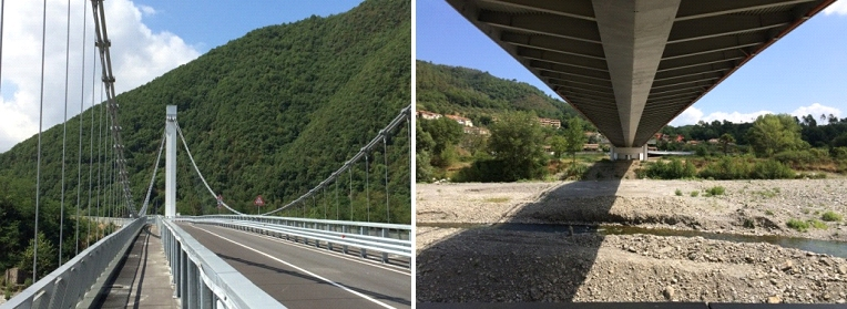 Fig. 1 and 2. View of the Stadano bridge from the road, towards the south tower, and view of the inferior structure from the belvedere obtained in the first pier.